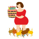 Sad woman of forty and birthday cake. Fat  lonely Lady. Royalty Free Stock Photo