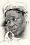 A sad woman in Ghana Royalty Free Stock Image
