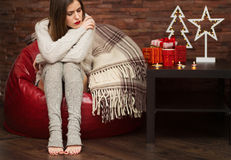 Sad woman with gift boxes Royalty Free Stock Image