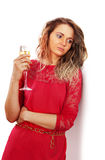 Sad woman with glass of wine Royalty Free Stock Photos