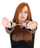 Sad woman in handcuffed hands Royalty Free Stock Photos