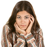 Sad Woman with Hands on Face Stock Photography