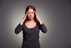 Sad woman have a headache Stock Photography