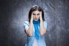 Sad woman having headache stock image