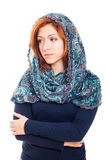Sad woman in headscarf Stock Photo