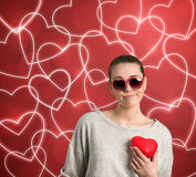 Sad woman with heart Royalty Free Stock Image