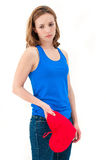 Sad woman holding red valentine heart Royalty Free Stock Photos