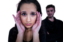 Sad woman looking at camera with sad man. Sad women looking at camera with sad men on background on white screen Stock Photography