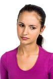Sad woman looking down Stock Photo
