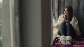 Sad woman looking out from dark room brick window. Depression Sad Woman Looking out From Room Brick Window stock video