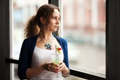 Free Sad Woman Looking Out The Window Royalty Free Stock Images - 38594749
