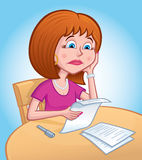 Sad Woman Looking Over Papers. Cartoon illustration of a sad faced woman looking over some papers while sitting at a table Stock Image