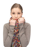 Sad woman in muffler Royalty Free Stock Photos