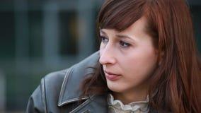 Sad woman outdoor stock video footage