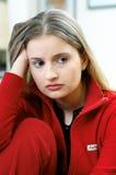 Sad woman portrait. Portrait of sad young woman stock photos