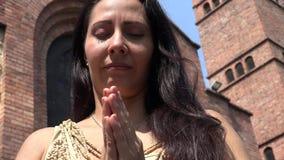 Sad Woman Praying at Church stock footage