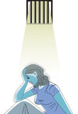 Sad woman in prison, illustration Stock Photo
