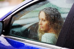 Sad woman and a rain Royalty Free Stock Photos