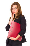 Sad woman with ring binder. Royalty Free Stock Photos