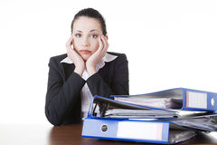 Tired and exhousted business woman. Stock Image