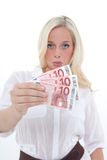 Sad woman shows banknotes Royalty Free Stock Photo