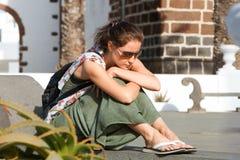 Sad woman  sit on a bench Royalty Free Stock Photos