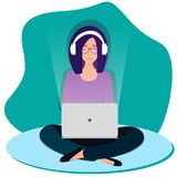 Sad woman is sitting on the floor with legs crossed royalty free illustration