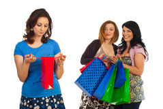 Sad woman of small shopping bag Royalty Free Stock Images