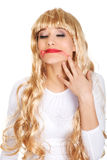 Sad woman with smeared lipstick. Stock Images