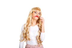 Sad woman with smeared lipstick. Royalty Free Stock Photography