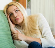 Sad woman suffering from troubles Stock Images