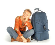 Sad Woman with suitcase Stock Photo