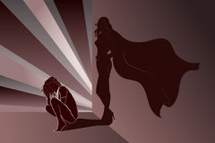 Sad woman with Superheros Shadow on wall Royalty Free Stock Images