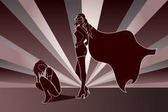 Sad woman with Superhero Shadow. Sad crouch woman with Superhero Shadow Stock Image