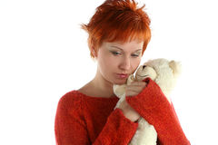 Sad woman with teddy bear royalty free stock photo