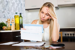Sad   woman thinking about  financial problems Stock Image