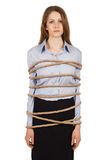 Sad woman tied a strong rope Stock Photography