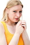Sad woman with tissues Royalty Free Stock Photography