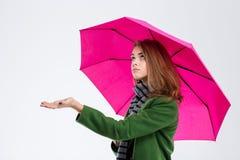 Sad woman with umbrella Royalty Free Stock Photos