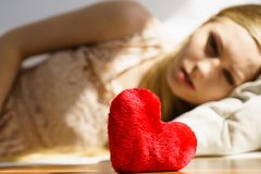 Sad woman on Valentines day Royalty Free Stock Photo