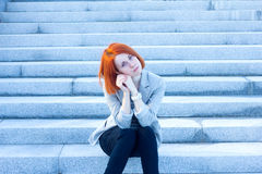 Sad woman waiting for someone. Very sad woman waiting for someone Royalty Free Stock Images