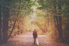 Sad woman walking alone in the woods royalty free stock image
