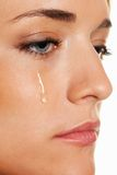 Sad woman weeps tears. Photo icon fear and G. A sad woman weeps tears. Photo icon fear, violence, depression Royalty Free Stock Images
