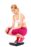 Sad woman on weighing scale. Slimming dieting. Royalty Free Stock Photos