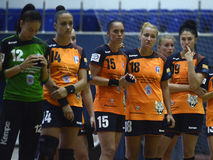 Sad Women Handball Players. CSM women handball players pictured after the Romanian Women Handball Supercup game between CSM Bucharest and HCM Baia Mare on August Royalty Free Stock Photos