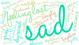 Sad Word Cloud. On a white background Stock Images