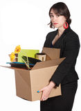Sad Worker Carries Belongings Stock Photography