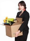 Sad Worker Carries Belongings Stock Photography