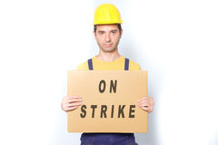 Sad worker on strike fighting for his rights isolated Stock Photos