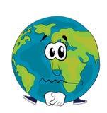 Sad World globe cartoon Royalty Free Stock Photography